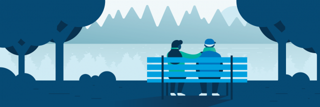 Couple sitting on a bench illustration