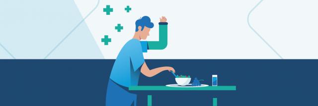 Injured man eating a healthy meal illustration