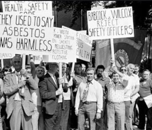 Workers protesting the use of asbestos