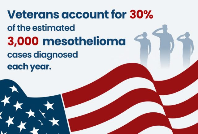Veterans account for 30% of the estimated 3,000 mesothelioma cases
