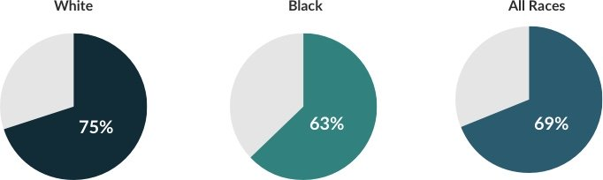 Pie charts of survival rates by race