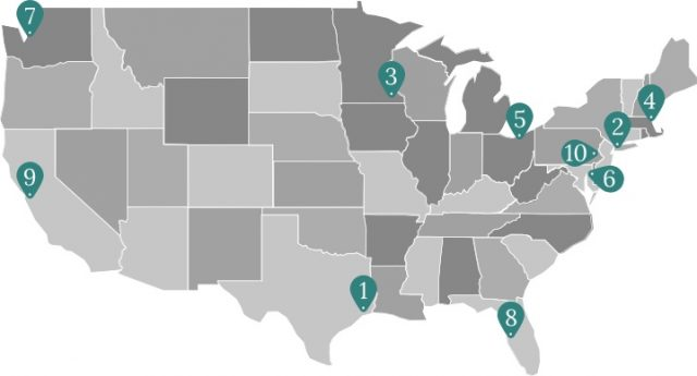 Map of top cancer centers in the U.S.